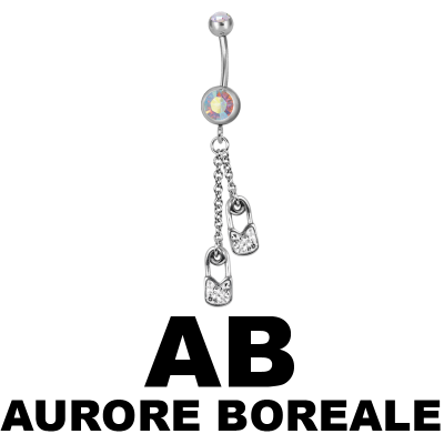 Steel Dangling Double Jewelled Bananabell with Safety Pin Navel
