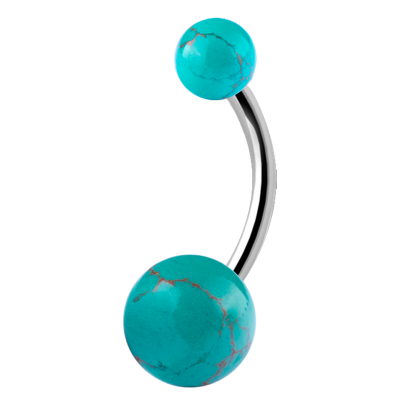 Double Jewelled Steel Bananabell with Turquoise Navel