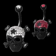 Gloss Finish Cross Bones Black Steel Banabell