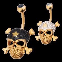 Gloss Finish Cross Bones Gold Steel Banabell