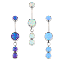 Industrial Strength Internally Threaded Titanium Bananabell with Dangling Synthetic Opals