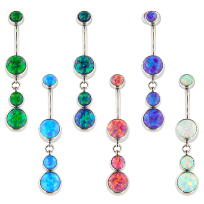 Industrial Strength Internally Threaded Titanium Bananabell with Dangling Synthetic Opals Navel