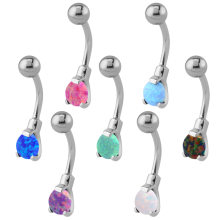 Surgical Steel Round Prong Set Synthetic Opal Bananabell with 4/6mm Ball