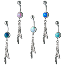 Steel Opal Feathers Dangle Bananabell