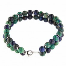 Double Line Afgan Lapis and Malachite Beads Bracelet With Steel Element