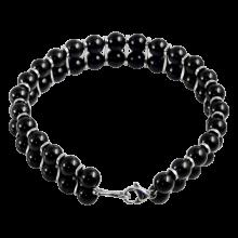 Double Line Black Onyx Beads Bracelet With Steel Element
