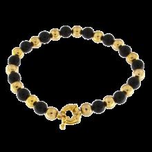 Single Line Black Onyx Beads BraceletBlack Onyx and Brass Beads Bracelet
