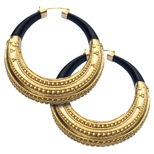 Brass Gold Plated and Horn Large Earrings with Gold Plated Hanger (price for pair)