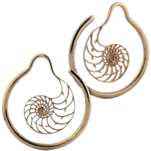 Rose Brass Hoop Nautilus Earrings (Price for Pair)