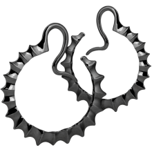 Black Brass Hoop Spikes Earrings (Price for Pair)