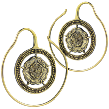 Brass Flower Spiral Earrings (Price for Pair)