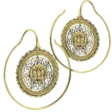 Brass Lotus Mandala Spiral Earrings (Price for Pair)