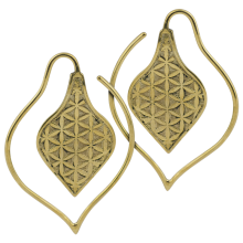 Yellow Brass Leaf Spiral Earrings (Price for Pair)