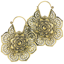 Brass Mandala Hoop Earrings (Price for Pair)