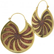 Brass Hoops Earrings with Copper Inlay (price for pair)