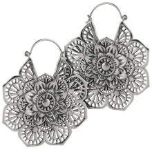White Brass Tribal Earrings (price for Pair)