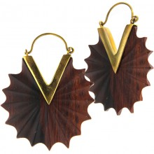 Brass Hoops Earrings with Wood Inlay (price for pair)