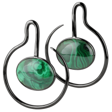 Black Brass Hoop Earrings with Oval Malachite Cabochon (Price for Pair)
