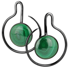 Black Brass Hoop Earrings with Round Malachite Cabochon (Price for Pair)