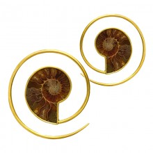 Brass Ammonite Spiral Earrings (price for pair)