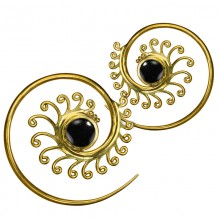 Brass Spiral Earrings with Onyx (price for pair)
