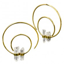 Double Crystal Quartz in Brass Hoops (price for pair)