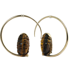 Large Brass Hoops with Tiger Eyes Shiva Mask (price for pair)
