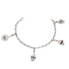 Surgical Steel Link Bracelet with Skull Charms Bracciali