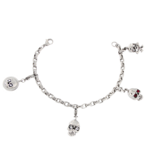 Surgical Steel Link Bracelet with Skull Charms