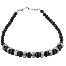 Black Onyx Beads with Steel Element Necklace