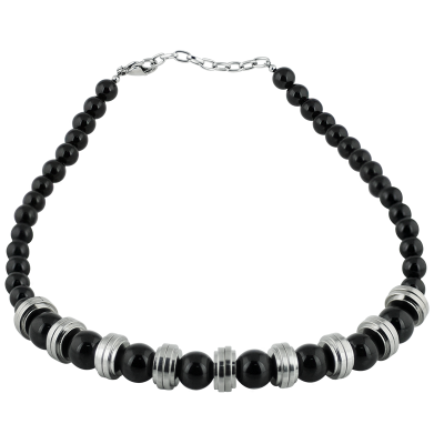 Black Onyx Beads with Steel Element Necklace Necklaces & Pendants