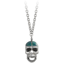 Brain Opal Inlay Big Skull Necklace