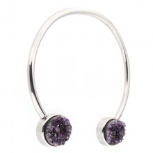 Amethyst Druzy Surgical Steel Necklace