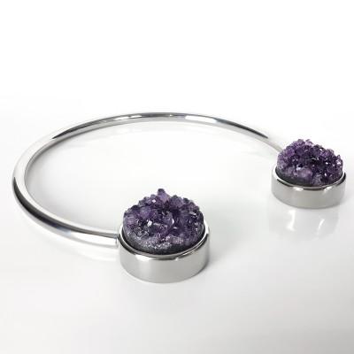 Amethyst Druzy Surgical Steel Necklace Necklaces & Pendants