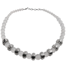Quartz Beads with Steel Element Necklace