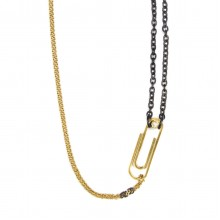 Paper Clip Necklace in Two Tones Steel