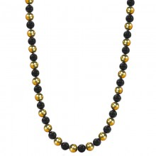 Black Onyx and Brass Beads Necklace
