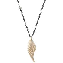 Bone Carved Wing Necklace w. BK Chain (80cm)
