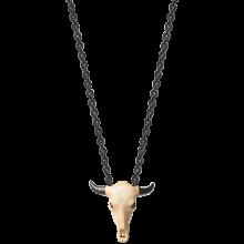 Buffalo Skull Carved in Bone Pendant w. BK Chain (60cm)