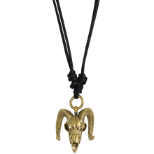 Necklace with Brass Skull Ram Pendant