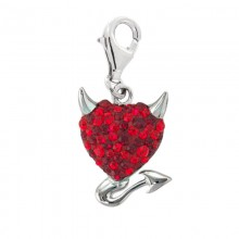 Crystal Devil Heart Charm