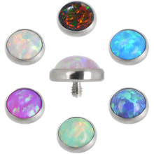 Titanium Opal Jeweled Disc (for 1.6mm Internally Threaded Pins)