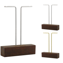 Steel and Brass Earrings Display with Azobè Wood Base