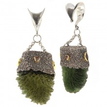 Moldavite and Sapphire Silver Pendants with Gold Elements (price for pair)