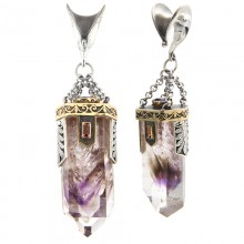 Amethyst, Quartz, Tourmaline and Tanzanite Silver Pendants with Gold Elements (price for pair)