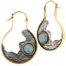 Silver & Brass Earrings with Aquamarine Cabochon (price for pair)