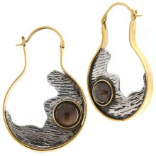 Silver & Brass Earrings with Brown Agate Cabochon (price for pair)