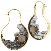 Silver & Brass Earrings with Botswana Agate Cabochon (price for pair)