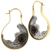 Silver & Brass Earrings with Onyx Cabochon (price for pair)