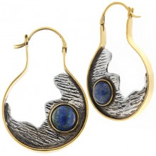 Silver & Brass Earrings with Lapis Lazuli Cabochon (price for pair)